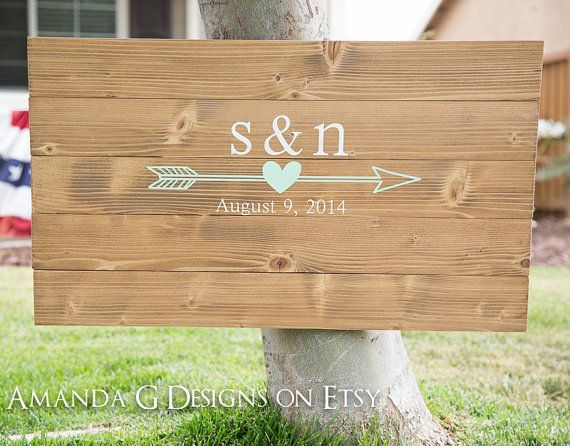 Arrow and Heart Hand Painted Wood Sign Guest by AmandaGdesigns