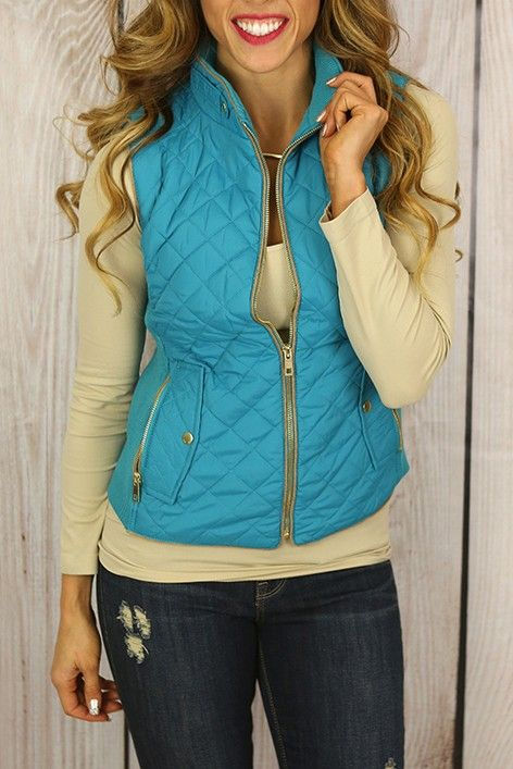 Fall in Love Puffer Vest in Teal