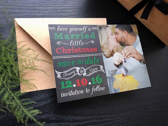 Wedding Ideas \u2022 Married Little Christmas Save the Date \u2022 Save the