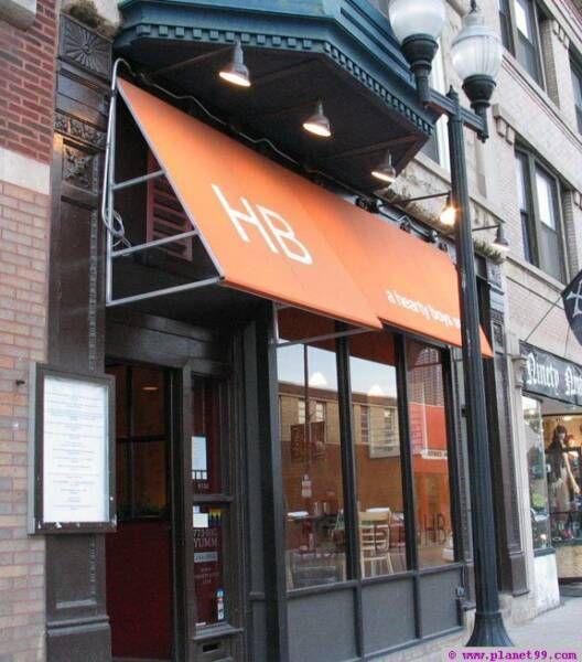 Orange Awning Brick Black Frame Restaurant Facade Building Exterior Facade