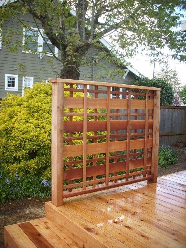 Customcedar privacy panel portland deck builder custom for Wood lattice trellis