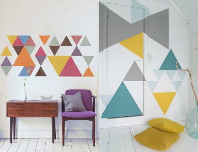 Wand Streichen Muster Ideen Bunte Dreiecke Chaotisch