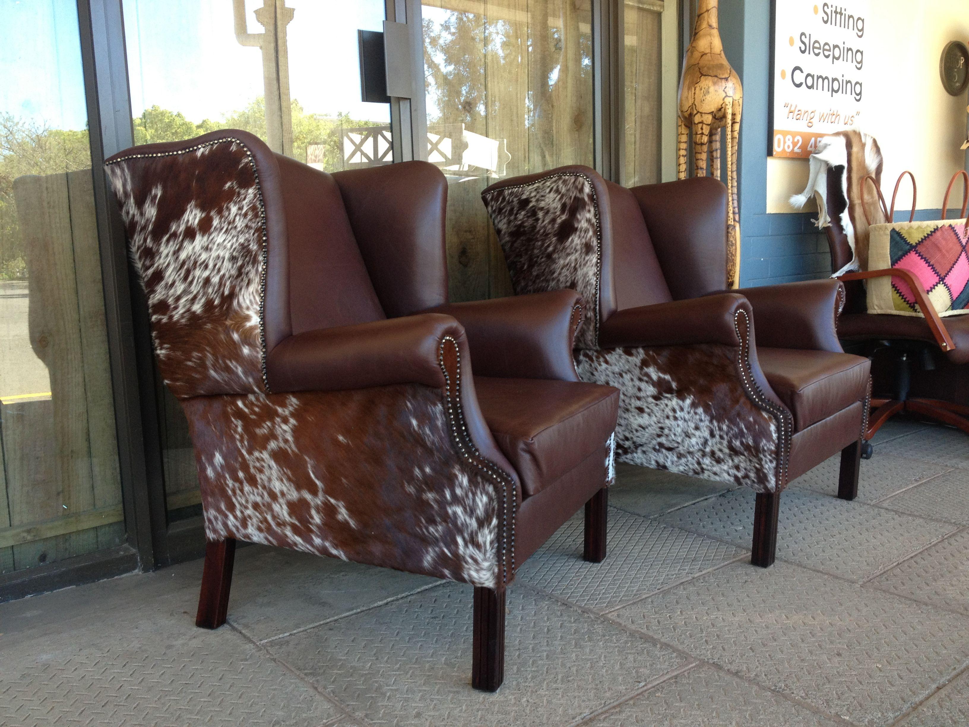 Leather Nguni Hide Wingback Chairs From Www Hidesofafrica Com  # Muebles En Salt Lake City Utah