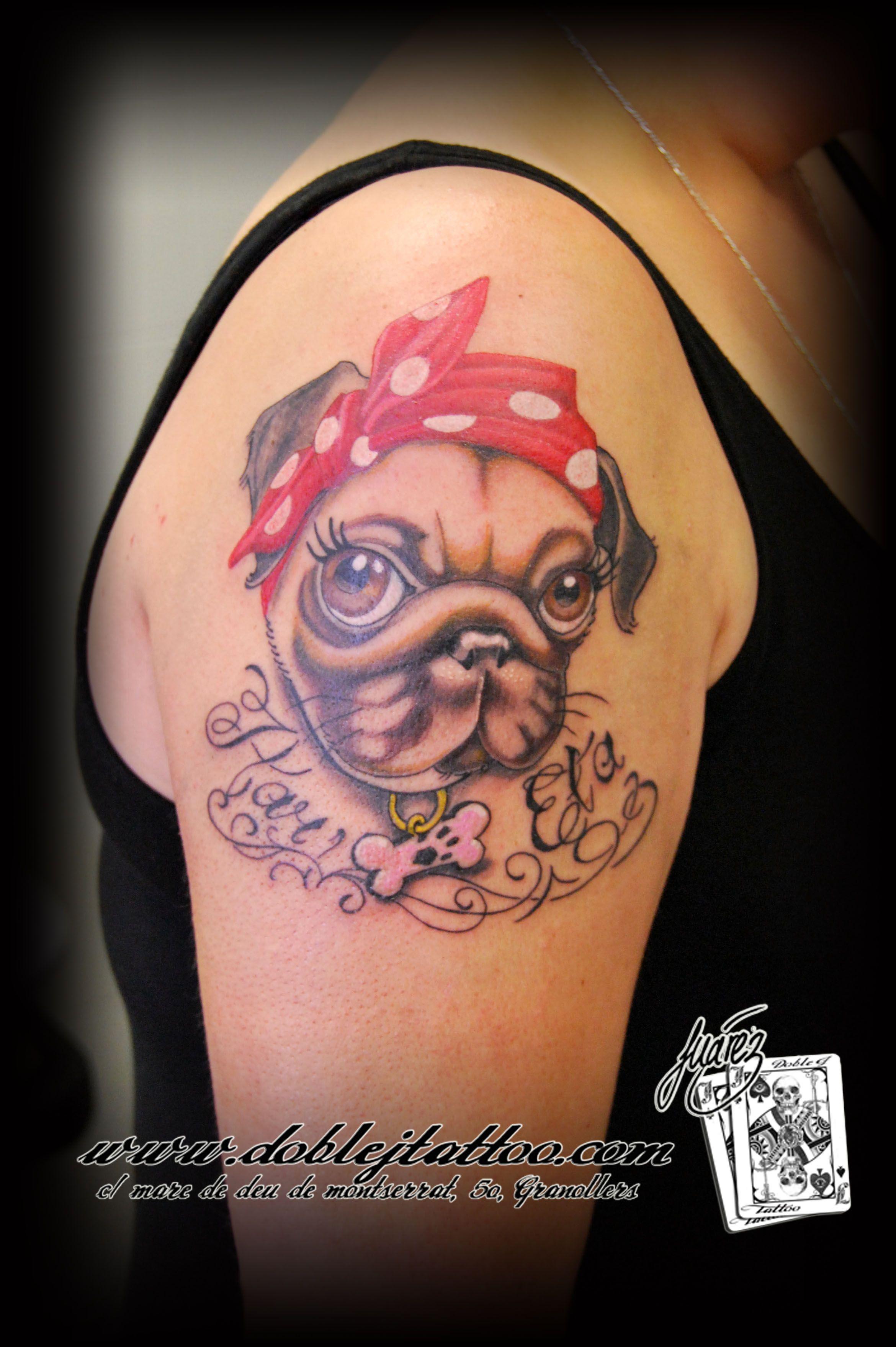 Caricatura de perro carlino Artista Josep Juarez Doble J Tattoo