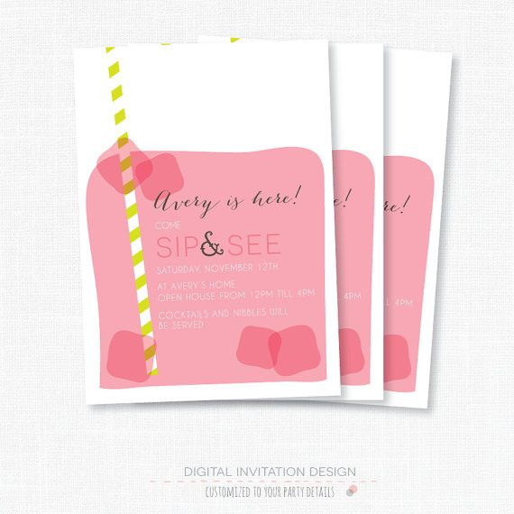 Sip And See Baby Shower Invitation Custom Invite