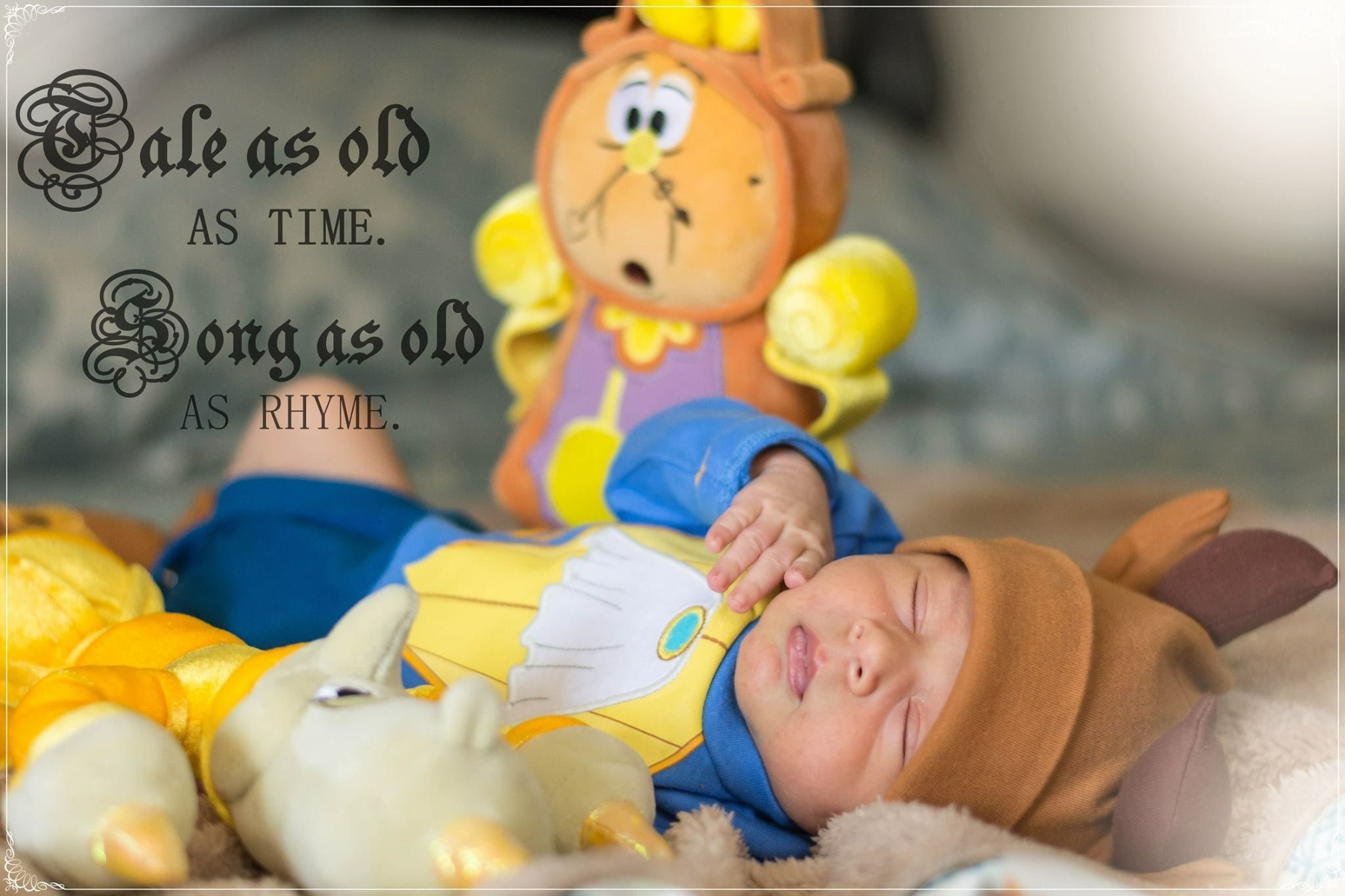 Beauty and the beast themed photoshoot disney baby newborn photography costume 2weeks