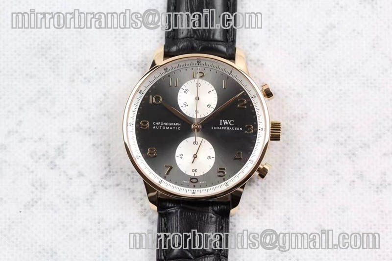"""IWC Portuguese Chrono IW371433 """"Jacky Chen"""" ZF 1:1 Best Edition on Black Leather Strap A7750 (Same Thickness as Genuine)"""