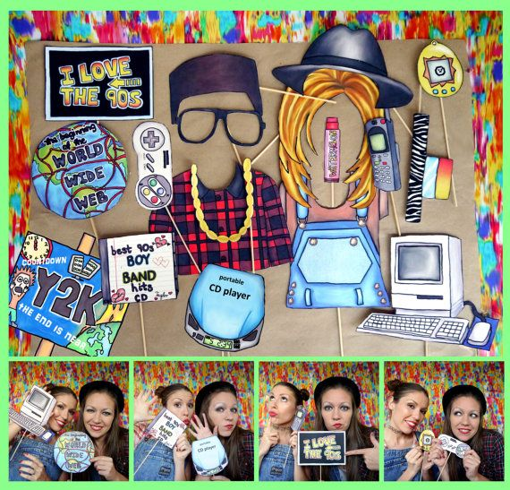 Nineties photo booth props - perfect for a throw back 90s theme ...