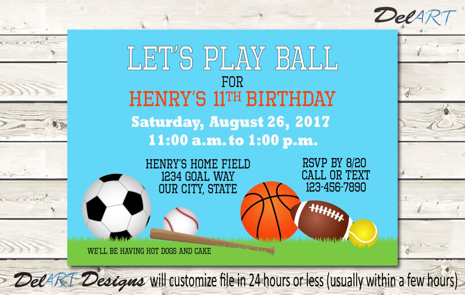 sports theme party invitation play ball birthday invite or save
