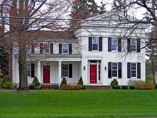 Red Brick House With Shutters Color Schemes Curb Appeal