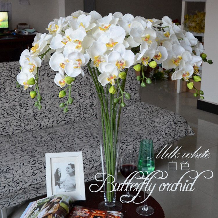 5pcs White Orchids Artificial Flowers For Wedding Table Centerpieces Table Garland Flowers Butterfly Orchid Phalaenopsis White Orchids Wedding Artificial Flowers Artificial Orchids
