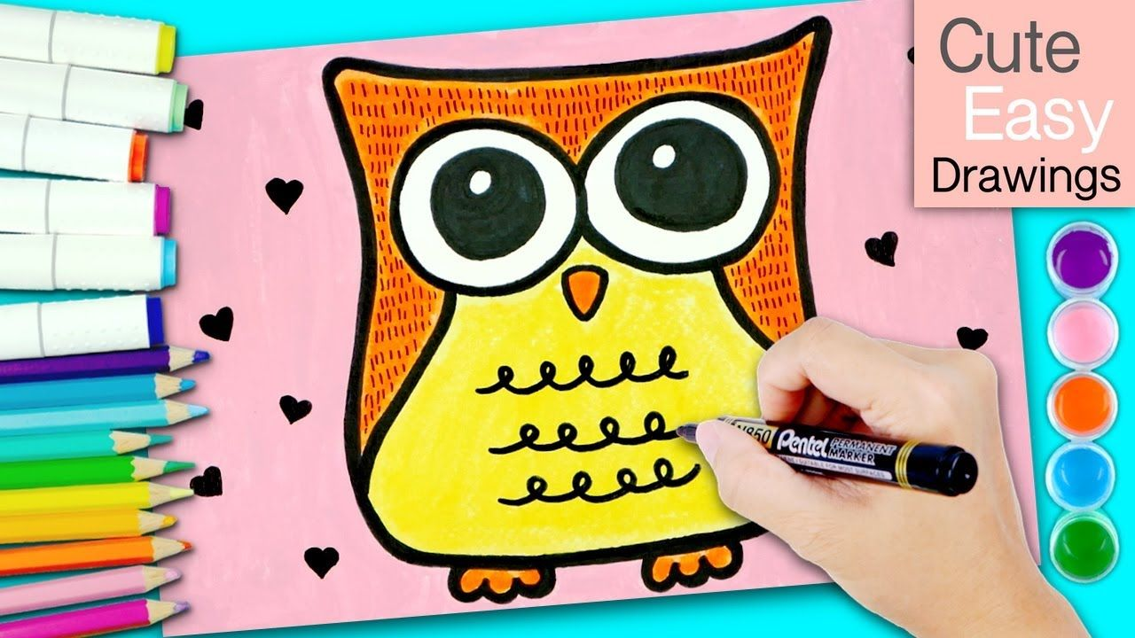 How To Draw An Owl For Kids Drawing Colour Painting Cute Easy Drawings Cute Easy Drawings Colorful Owl Drawing Owls Drawing