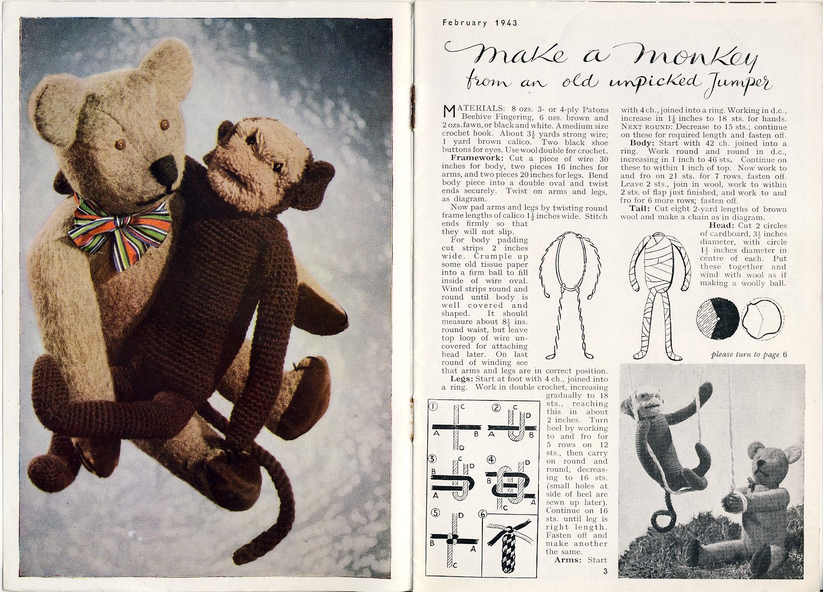 Knitting pattern from Stitchcraft, February 1943. How to make a ...