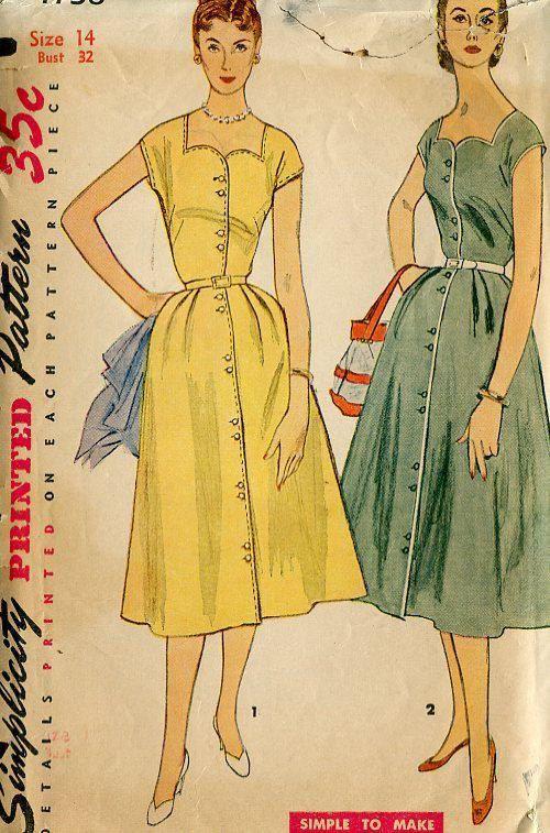 FREE US SHIP Vintage Retro 1940's 40's Original Sewing Pattern Simplicity 4738 Bust 32 Shirtdress Dress Sweetheart Neckline Printed Cut by LanetzLivingPatterns on Etsy