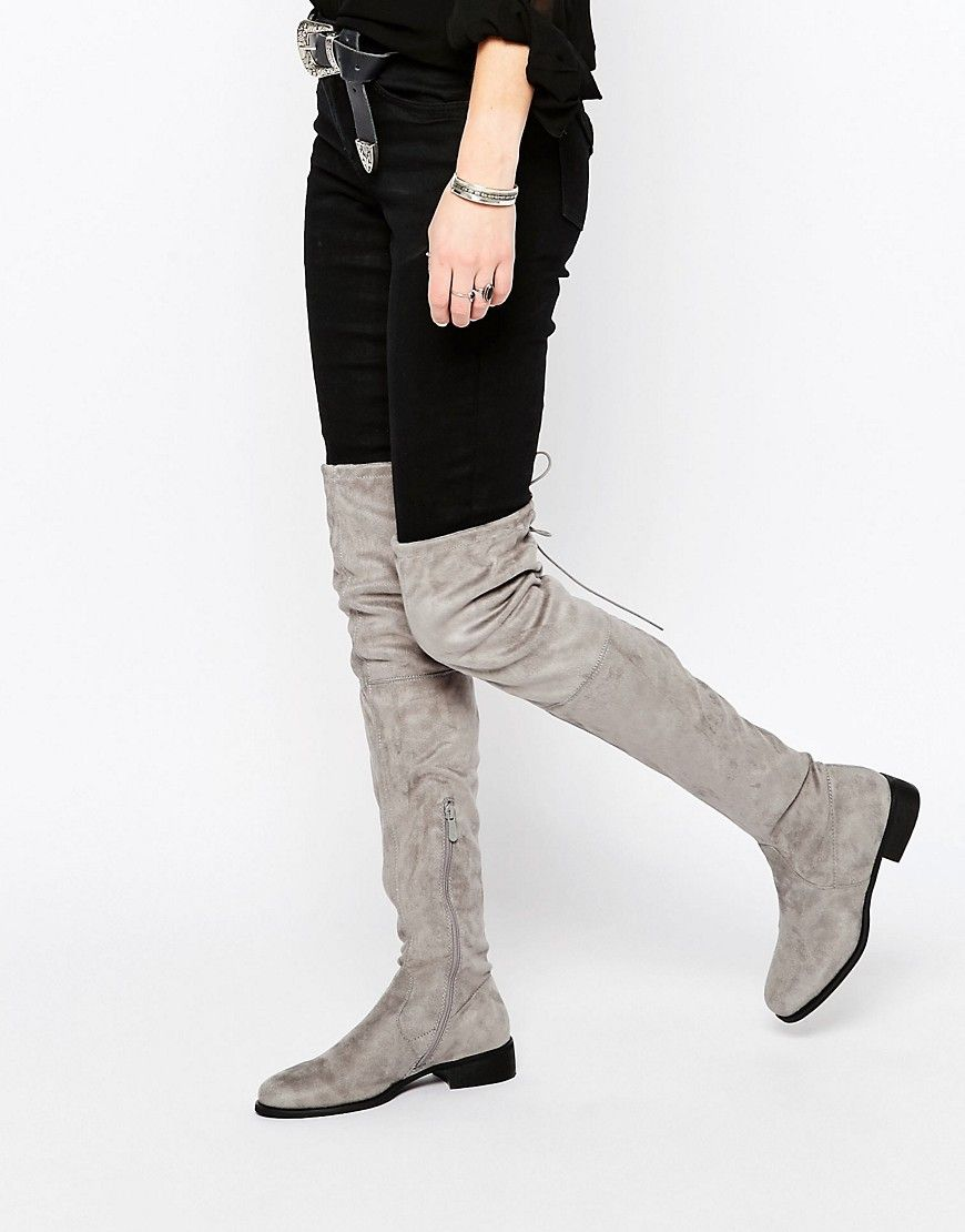 Image 1 of Public Desire Gray Flat Tie Back Over The Knee Boot ...