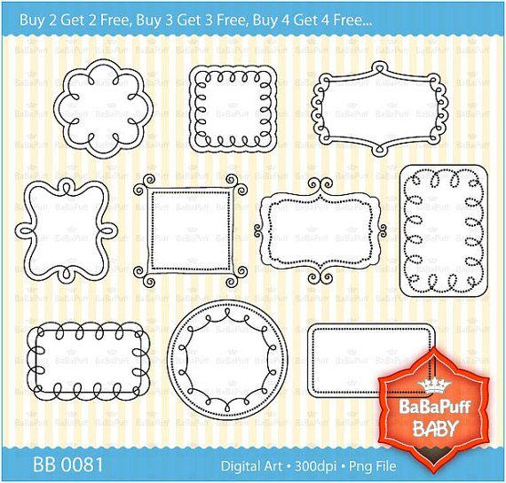 Buy 2 Get 2 Free ---- 10 Printable Doodles Frames Clip Art