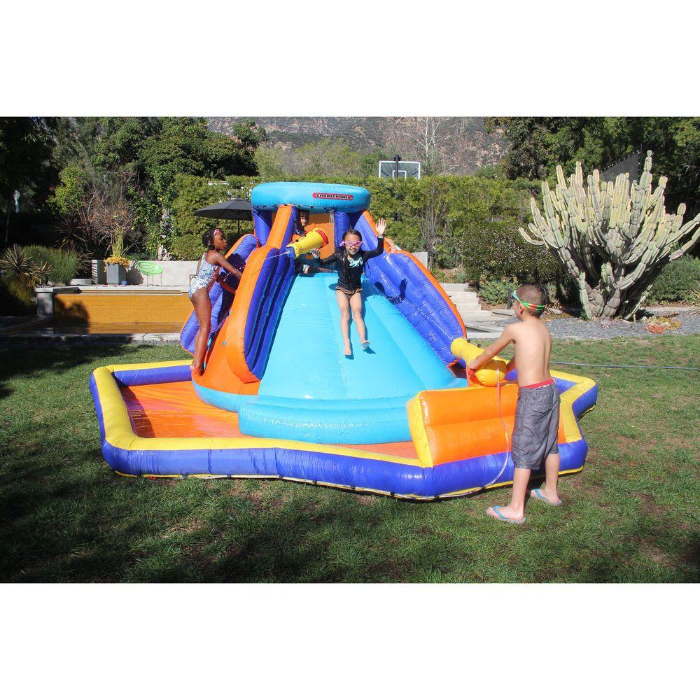 Inflatable Water Slide Giant Splash Pool Climbing Wall