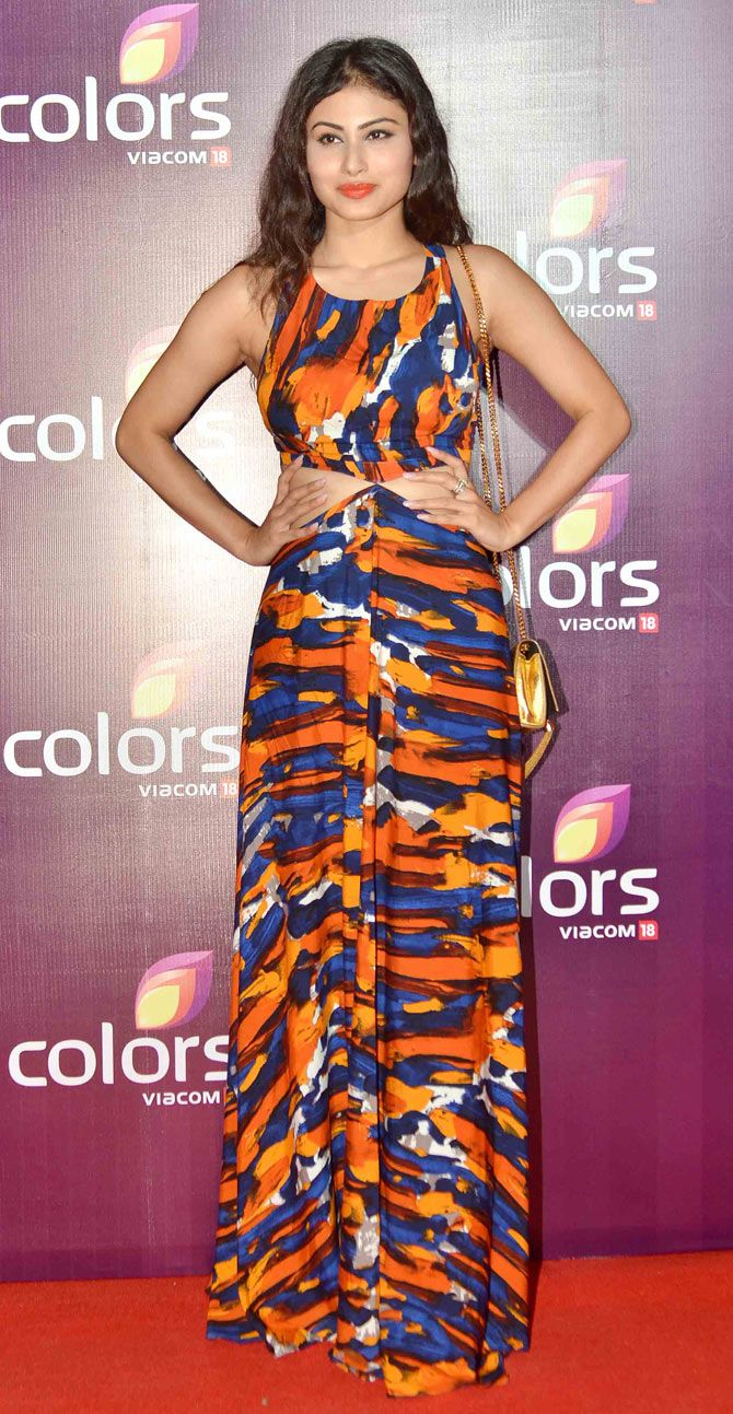 Mouni roy on red carpet at colors party function bollywood