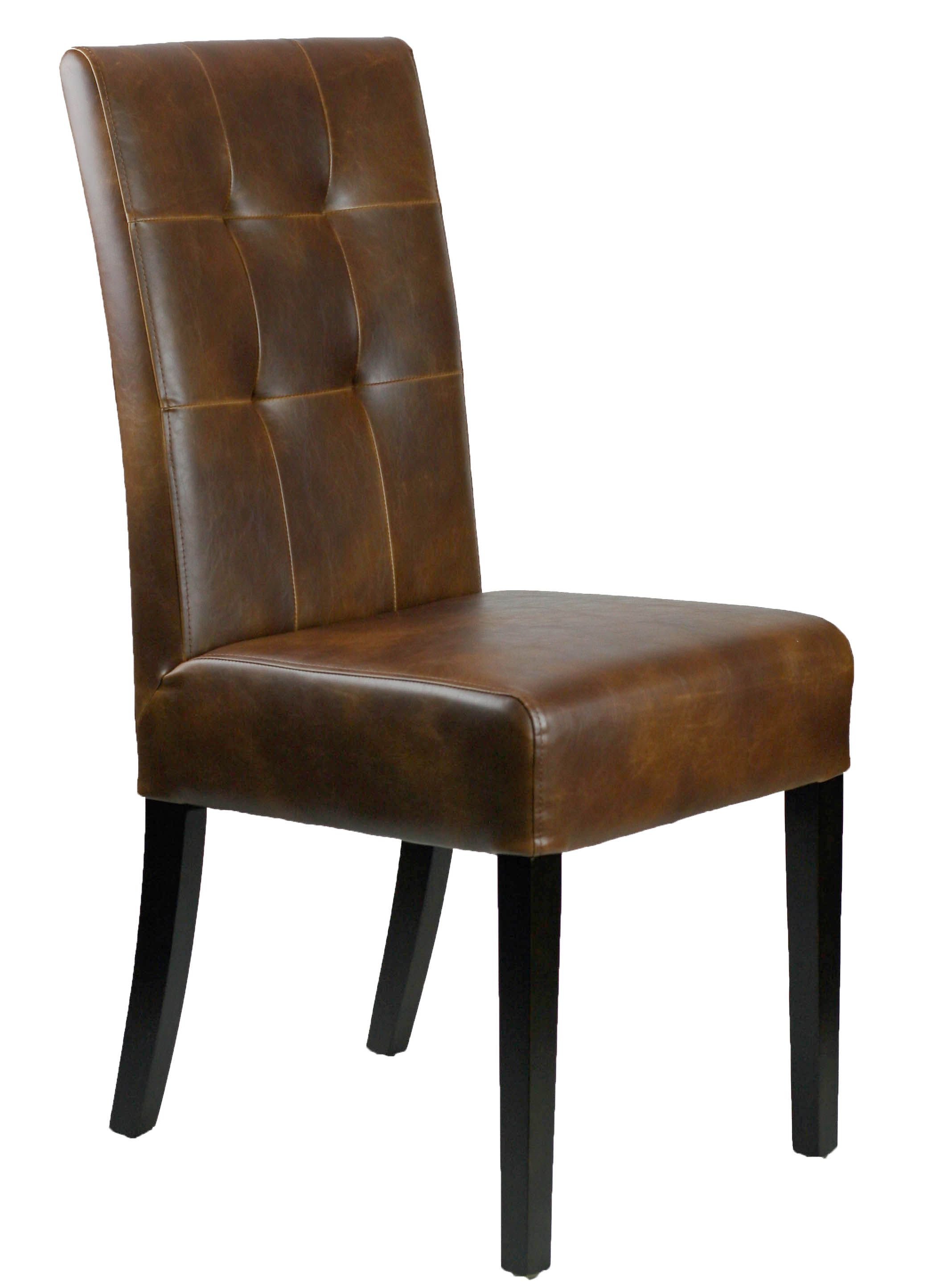 Distress Brown Tufted Leather Dining Chair In 2019