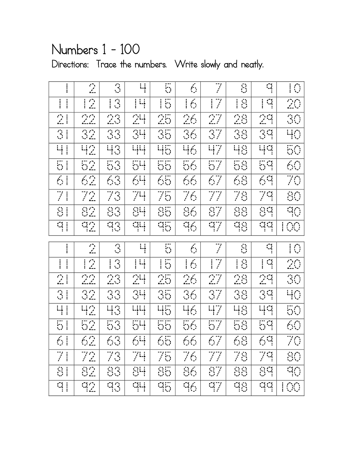 Traceable Number Worksheets