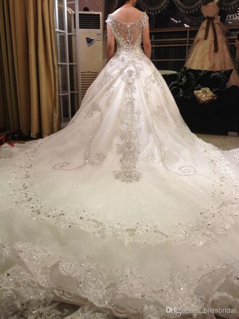 Hot luxury v neck ball gown long train silk organza lace for Wedding dress long train