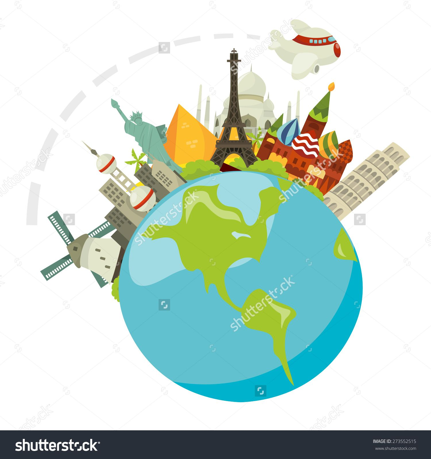 A Cartoon Vector Illustration Of Travel Concept Called Globetrotting Plane Through All