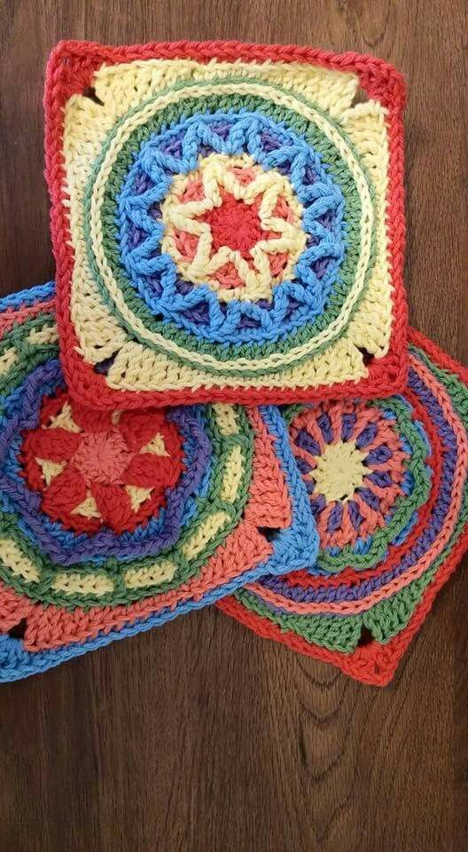 """Examples of Some of the Blocks From: """"Circles of the Sun - Mystery CAL"""" 2015 (CAL = Crochet Along) Can be found FREE on Ravelry - do Pattern seach for what's in Quotes above"""