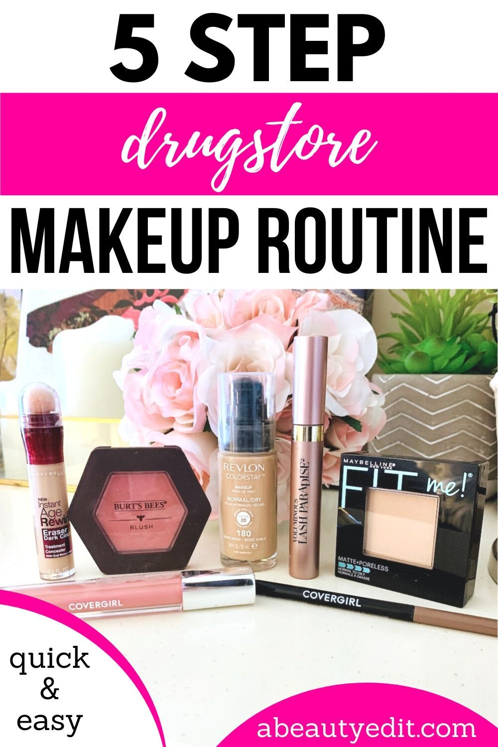 This quick and easy 5 step natural drugstore makeup routine is perfect for every day or when you are short on time. These easy steps will provide pretty color and an even tone to your skin, all while looking natural and not overdone. #drugstoremakeup #makeuproutine #easymakeup #makeuptutorial