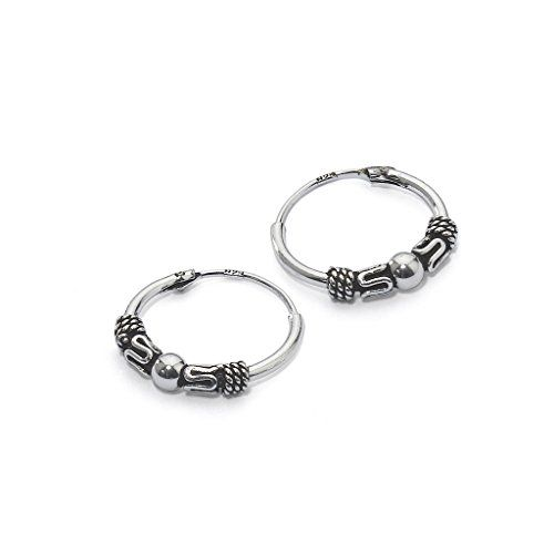 River Island Jewelry 14mm 0 55 Inches Bali Sterling Silver Small Endless Hoop Earrings For Cartilage