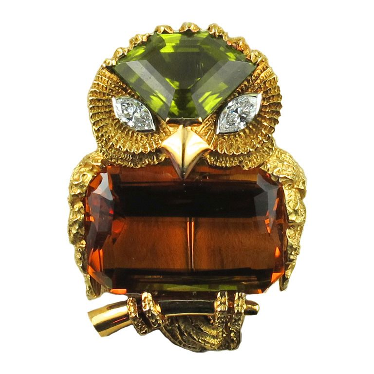 1960s Cartier Owl Brooch   From a unique collection of vintage brooches at http://www.1stdibs.com/jewelry/brooches/brooches/