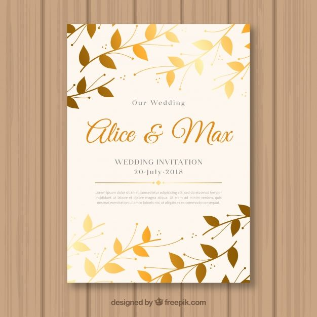 Wedding invitation with golden leaves free vector ai color pinterest wedding invitation with golden leaves free vector stopboris Image collections