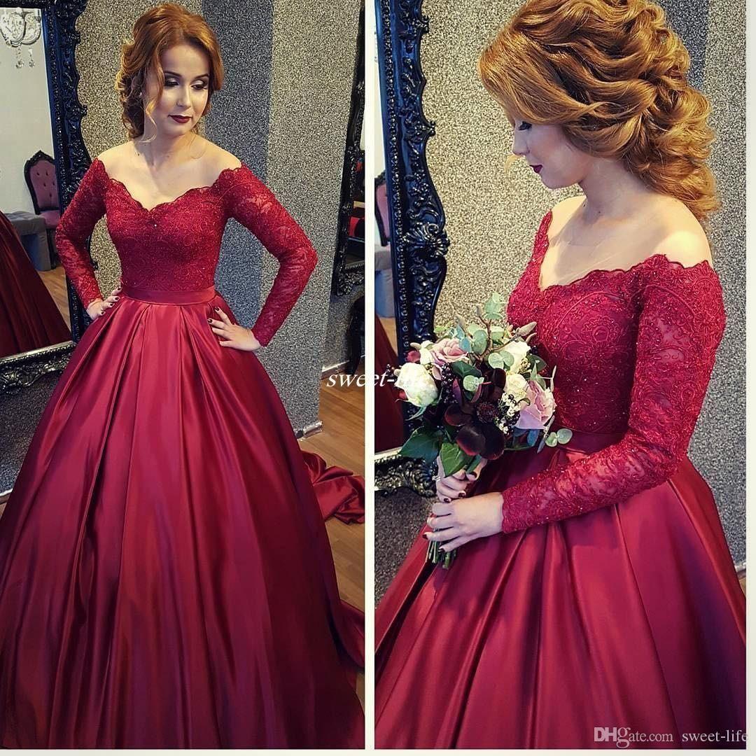 Vintage long sleeve women formal evening dresses red lace sequins