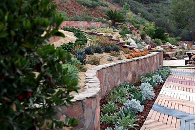 BRICK PATIO Terraced back yard slope landscaping with ... on drought resistant landscaping ideas, xeriscape design ideas, rainwater harvesting ideas, sustainable landscaping ideas, xeriscape plant ideas, companion planting ideas,