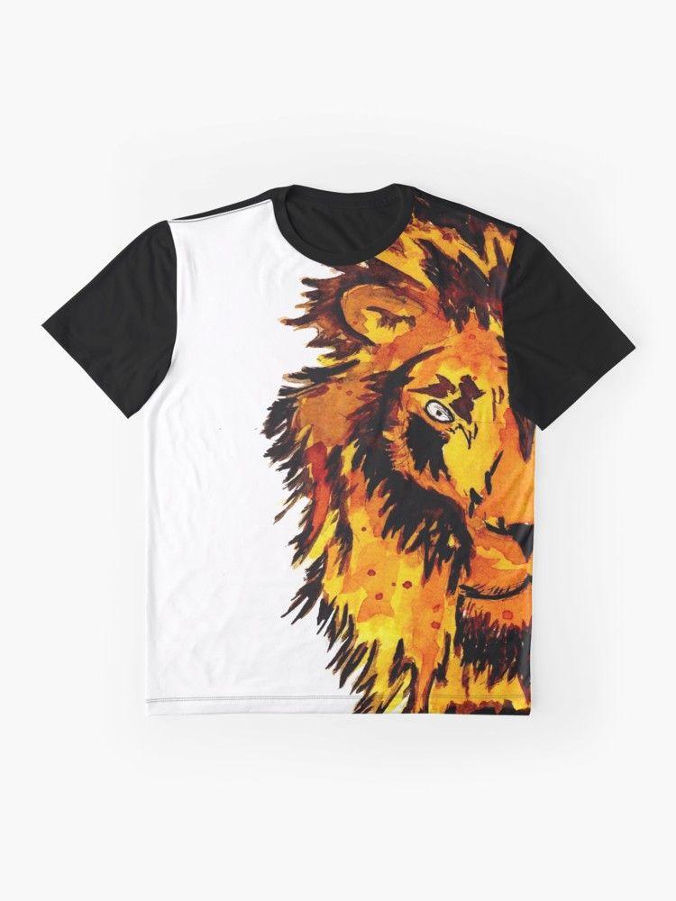 Watercolor Male Lion Half Face Graphic T Shirt By Zeichenbloq