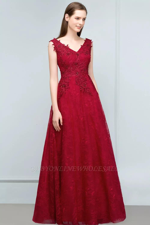 Weinrote Abiballkleider Lang  Rote Abendkleider Spitze Günstig