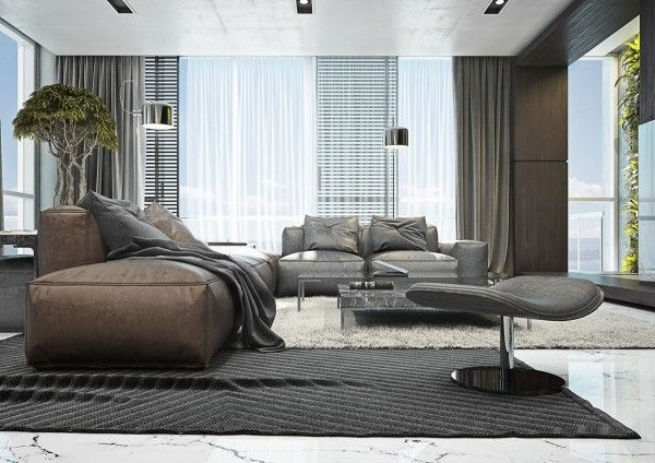 4 masculine apartments with super comfy sofas and sleek color palettes