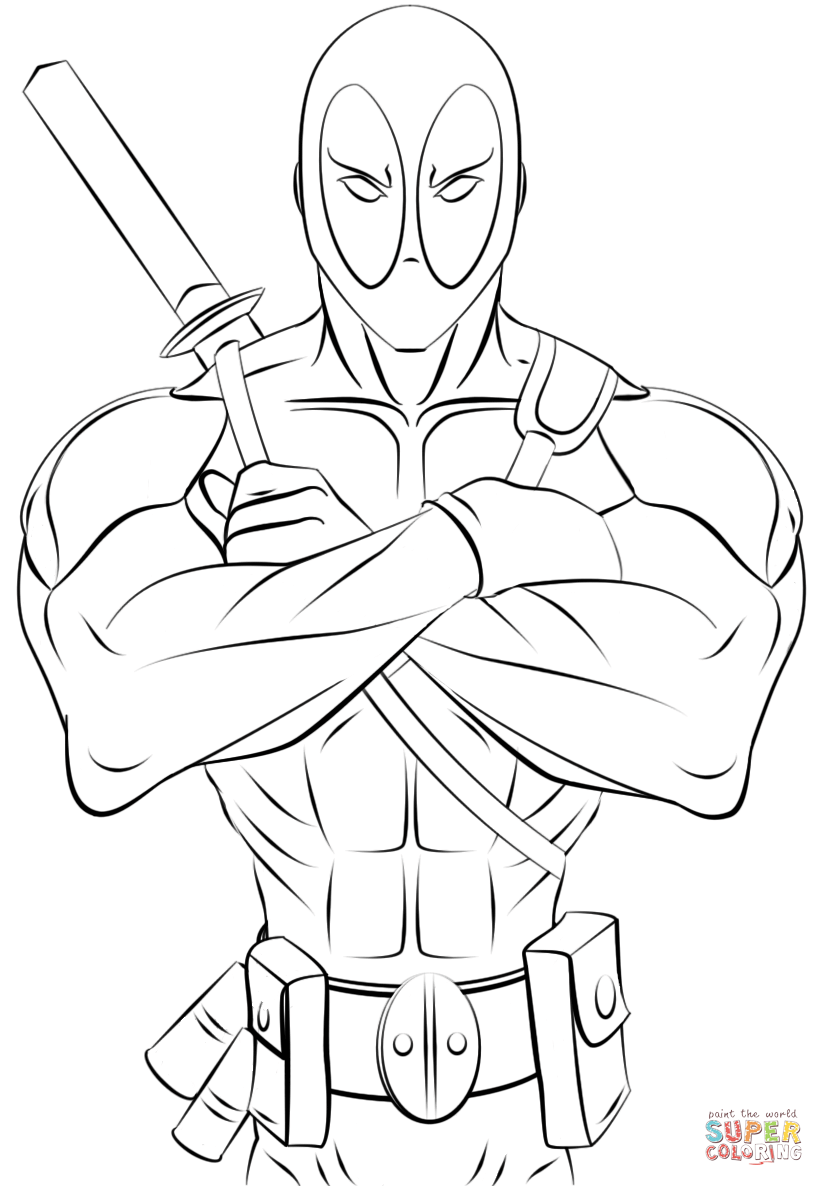 Deadpool printable coloring page whatever