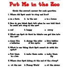 These activities were designed to complement Dr. Seuss' Put Me in the Zoo book.  Included in this bundle are the following:  5 multiple choice ques...