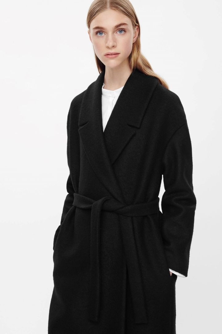 Belted wool coat - Black - All Articles - COS NL | Coats, Wool and ...
