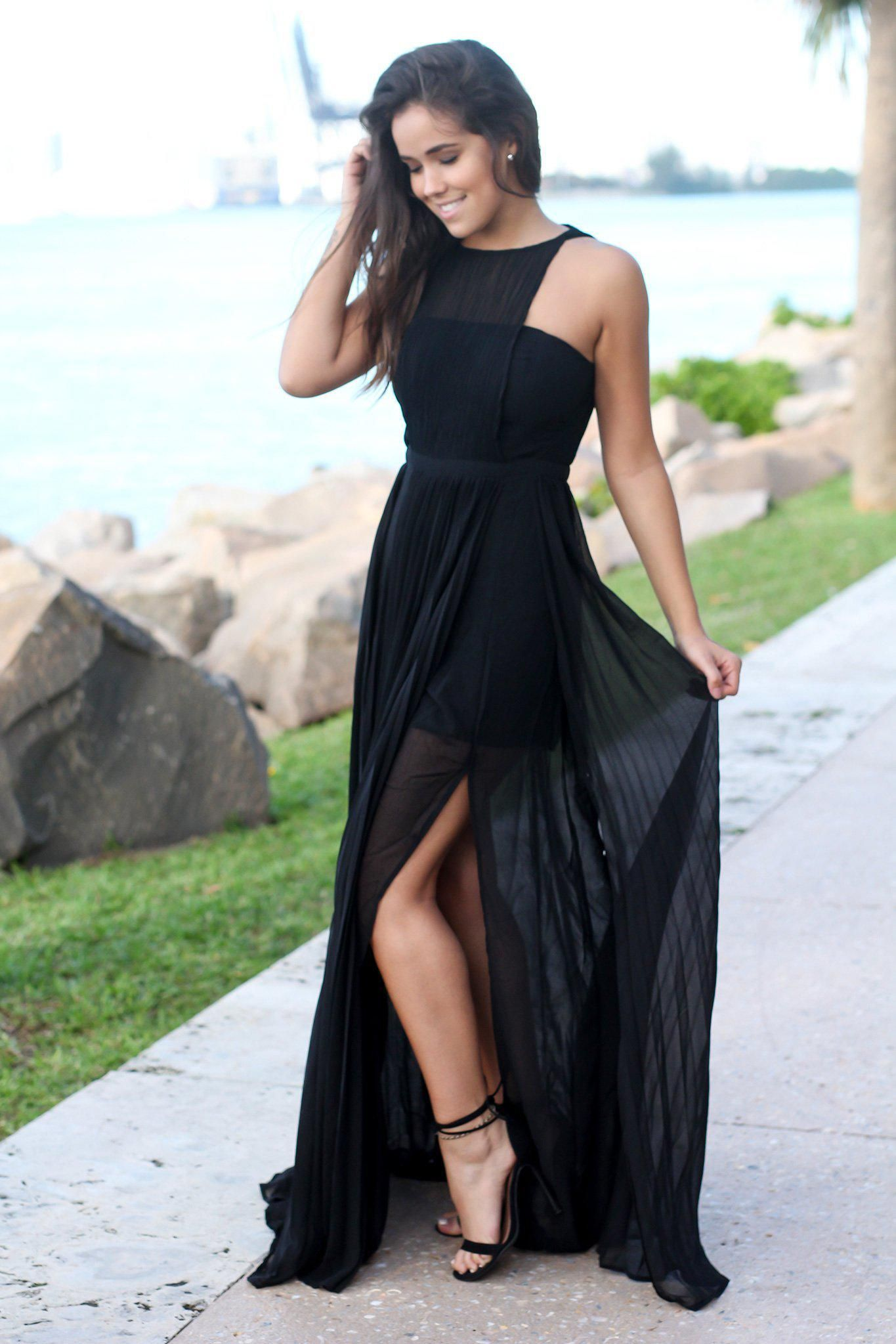 Black Pleated Maxi Dress with Side Slits Tulle prom