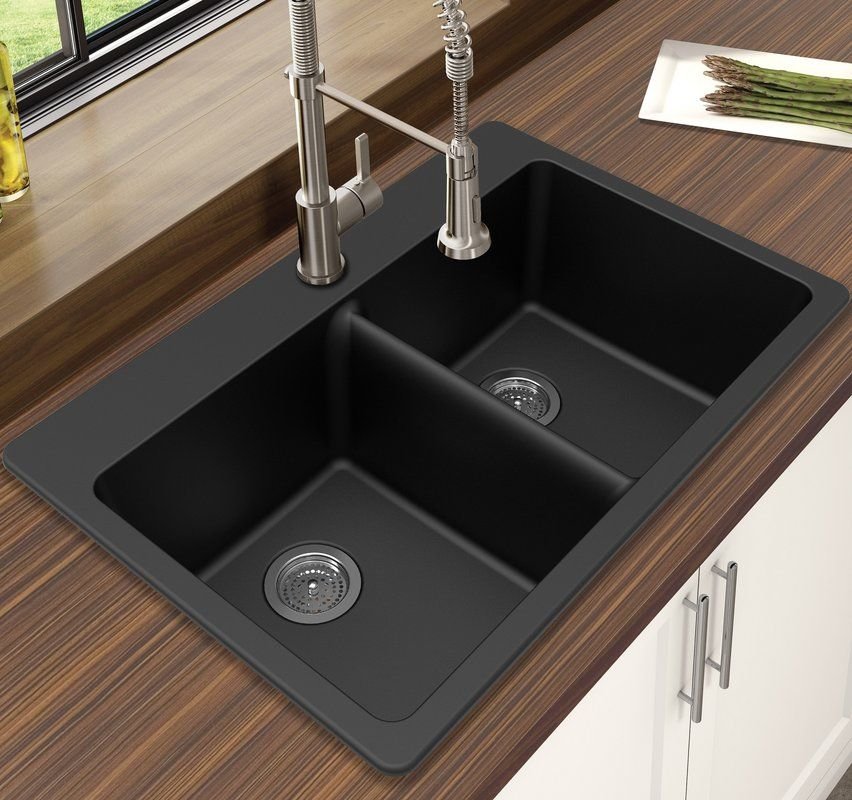 Granite Quartz 33 L X 22 W Double Bowl Dual Mount Kitchen Sink