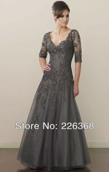 Newest V-Neck Tulle Full-Length A-Line Gray Tall Lace Appliques Mother Of The Bride Dress With Sleeves Customize Free Shipping