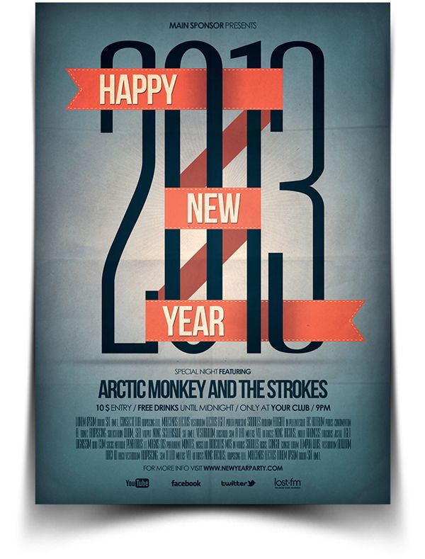 New Year Flyer  Poster By Bluemonkeylab  Via Behance  Holiday