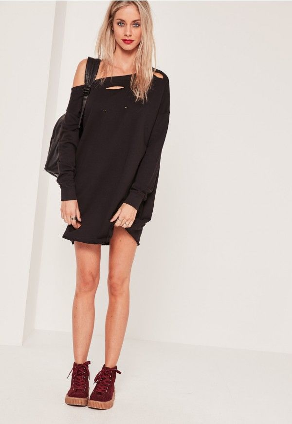 a3954c5d38 Missguided - Ripped Oversized Sweater Dress Black