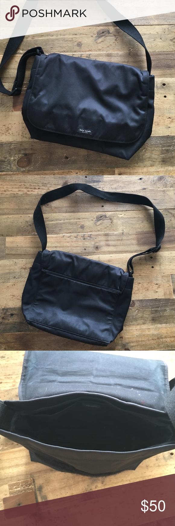 Kate spade black messenger bag Kate spade messenger bag. Nylon. Back and interior pockets. Velcro closing. Cross body strap. kate spade Bags Crossbody Bags