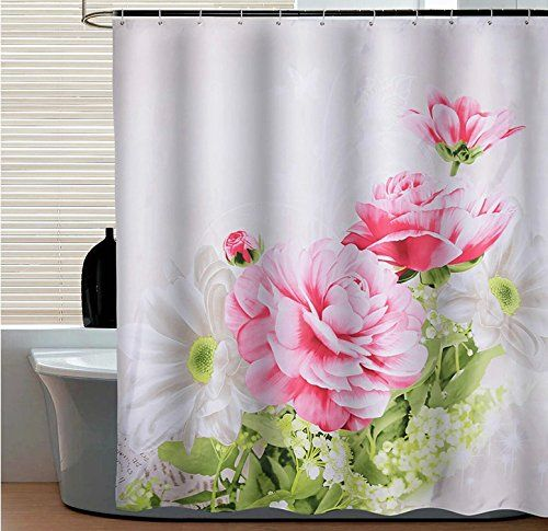 Uphome Blooming Peony Floral White Kids Bathroom Shower Curtain Mouldproof And Heavy Duty Polyes Fabric Shower Curtains Floral Shower Curtains Shower Curtain
