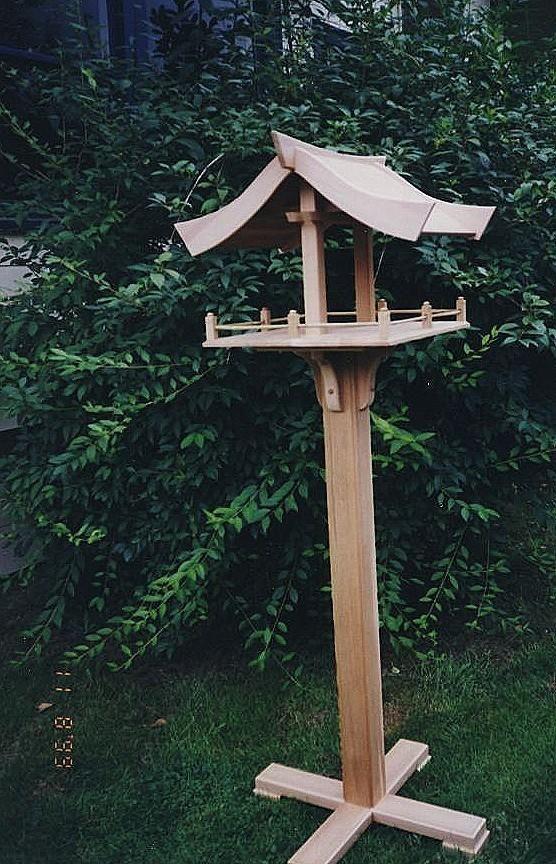 Handcrafted Japanese Shrine Style Bird Feeder Table 2 Birds