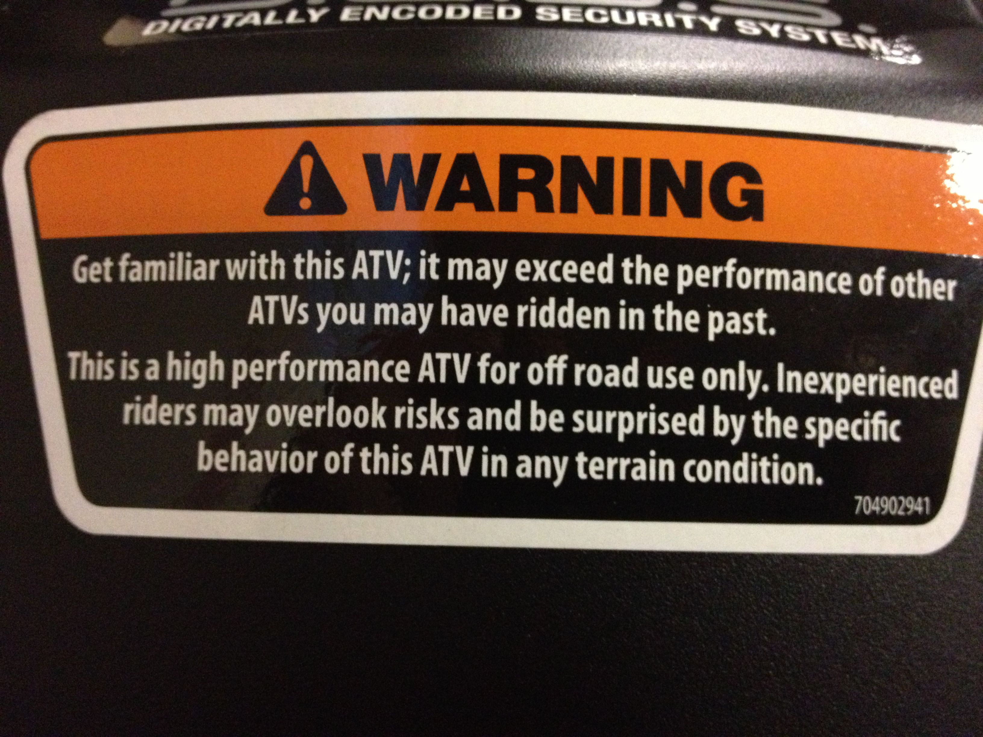 This Is The Warning Sticker On A Can Am Outlander 1000 It
