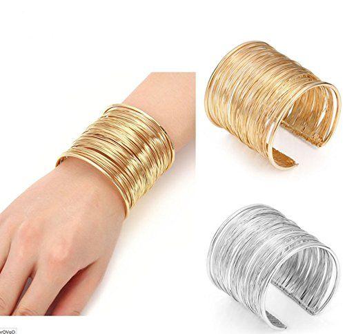 Amazon.com: Wire Metal Coil Thin Cuff Bracelet (Gold color ...