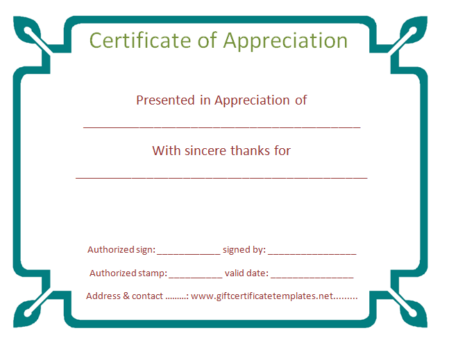 Organization Certificate Of Appreciation Template  Certificate Of